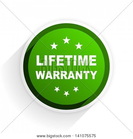 lifetime warranty flat icon with shadow on white background, green modern design web element