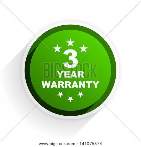 warranty guarantee 3 year flat icon with shadow on white background, green modern design web element