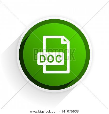 doc file flat icon with shadow on white background, green modern design web element