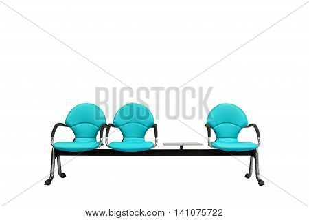 Isolated Light Blue Modern Seats On White
