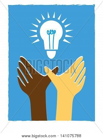 Two hands in brown and white reaching up for a light bulb symbol in a blue sky as a metaphor for shared ideas