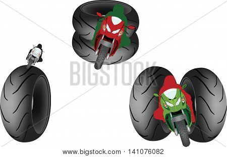 biker symbol with tires tris symbol of motorcyclists with Tire road
