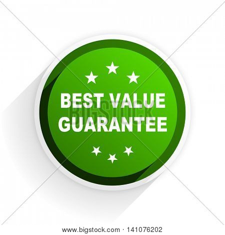 best value guarantee flat icon with shadow on white background, green modern design web element