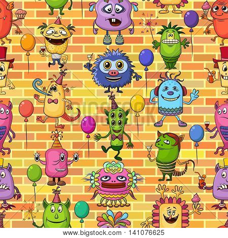 Seamless Background for Your Holiday Party Design with Different Cartoon Monsters on Brick Wall, Colorful Tile Pattern with Cute Funny Characters, Feasting and Dancing. Vector