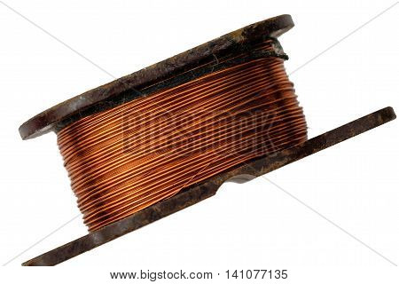 Voltage ring core transformer on a white background