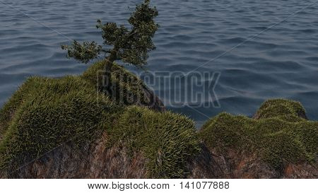 3d illustration of the lonely tree on top of the cliff