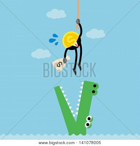 coin business man catching money ,climbing rope and escaping from crocodile.