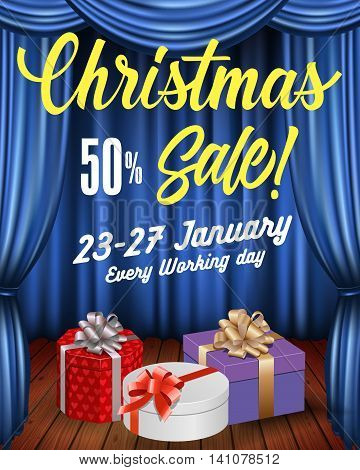 Christmas sale lettering. Christmas sale design template with present boxes on theatre stage with blue curtains. Sale concept. Can be used for posters, banners, leaflets