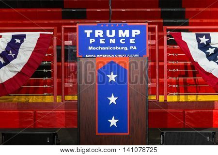 Mechanicsburg PA - August 1 2016: The lectern at the before a Donald J Trump rally.