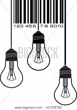 Barcode with three light bulbs, sign concept, creative products market. Vector illustration icon with barcode.