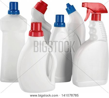 Set of Bottles with Detergents - Isolated