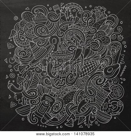 Cartoon cute doodles hand drawn Mexican food illustration. Chalkboard detailed, with lots of objects background. Funny vector artwork. Dark picture with Mexico cuisine theme items