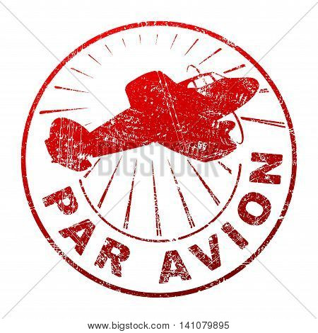 Par avion grunge style vector rubber stamp with silhouette of flying propeller aircraft