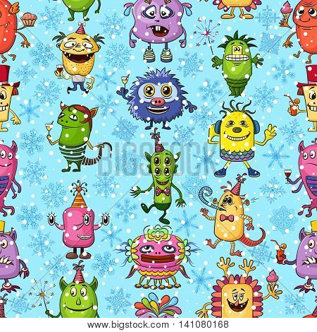 Seamless Christmas Background for Your Holiday Party Design, Different Cartoon Monsters and Blue and White Snowflakes, Colorful Tile Pattern with Cute Funny Characters, Feasting and Dancing. Vector