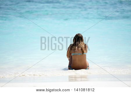 Perfect Paradise Summer Vacation Happiness Carefree Happy Woman Relaxing Sitting In Sand Enjoying Tr