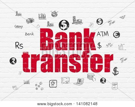 Banking concept: Painted red text Bank Transfer on White Brick wall background with  Hand Drawn Finance Icons