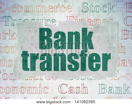 Banking concept: Painted green text Bank Transfer on Digital Data Paper background with   Tag Cloud