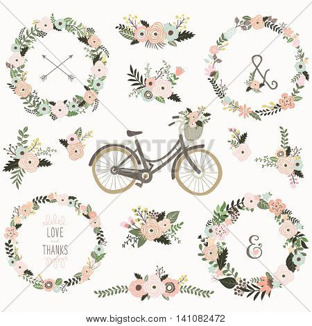 Vintage Flower Wreath Bicycles -Perfect for Weeding, Floral Fauna, Mother's day, Valentine's and many more.