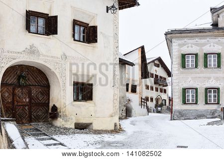 Winding street with old houses, Guarda, Switzerland. Guarda it is one of the best preserved and characteristic villages of the Unterengadin.