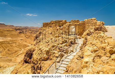 View on the ruins of the Masada fortress - the Judaean Desert, Israel