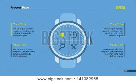Infographic with hand clock. Element of presentation, step diagram, chart. Creative concept for business templates, infographics, reports. Can be used for topics like time, business, money, marketing