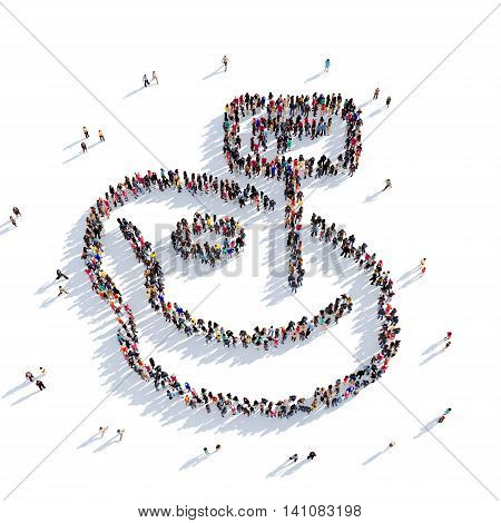 Large and creative group of people gathered together in the shape of steak and meat. 3D illustration, isolated against a white background. 3D-rendering.