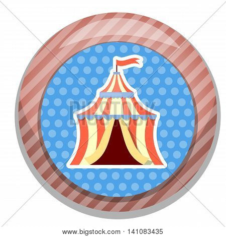 Circus tent colorful icon. Vector illustration in cartoon style