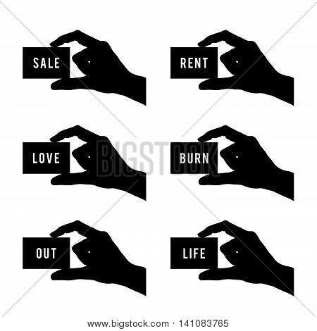 Card In Hand Set In Black Color Design Illustration