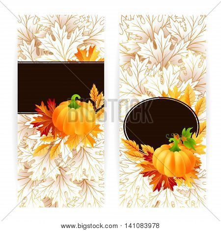 Autumn banners with pumpkin and fall maple tree leaves. Vector vertical flayer template.