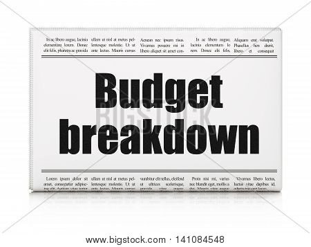 Business concept: newspaper headline Budget Breakdown on White background, 3D rendering