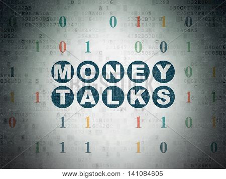 Business concept: Painted blue text Money Talks on Digital Data Paper background with Binary Code