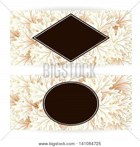 Autumn banners with fall maple tree leaves. Vector horizontal flayer template.