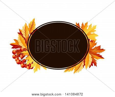 Autumn fall maple tree leaves with rowanberry card. Rombus frame with copy space. Vector banner template.