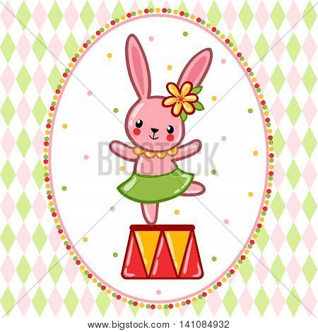 A circus hare standing on a circus tub. Vector illustration.
