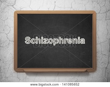 Health concept: text Schizophrenia on Black chalkboard on grunge wall background, 3D rendering