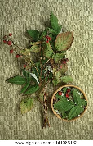 Raspberry.Dried herbs for use in alternative medicine.Herbal medicine phytotherapy medicinal herbs.For preparation of infusions decoctions tinctures powders ointments tea.Background green cloth