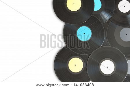 Vinyl records on top of a white background with space