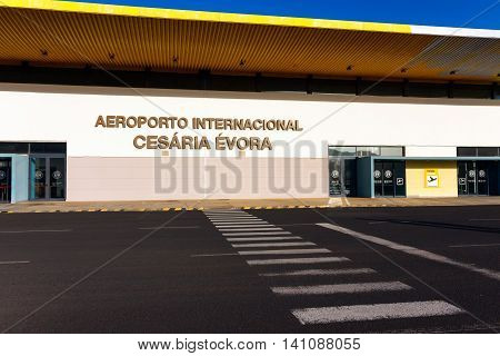 SAO PEDRO, CAPE VERDE - DECEMBER 12 2015: International Airport of Cesaria Evora on Sao Vicente Island