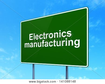 Industry concept: Electronics Manufacturing on green road highway sign, clear blue sky background, 3D rendering
