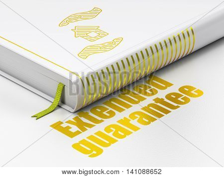 Insurance concept: closed book with Gold House And Palm icon and text Extended Guarantee on floor, white background, 3D rendering