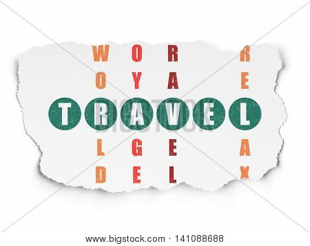 Travel concept: Painted green word Travel in solving Crossword Puzzle on Torn Paper background