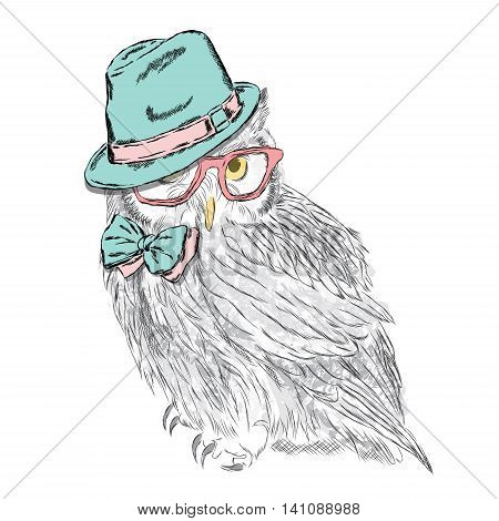 Owl Wearing A Hat And Sunglasses. Fashion Style. Print. Hipster. Bird Vector.