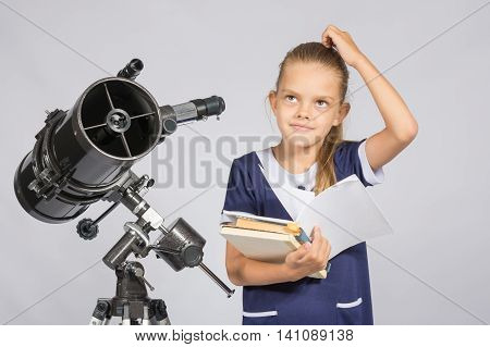 Schoolgirl Wondered And Looked Up To By Reading A Textbook While Standing At The Telescope