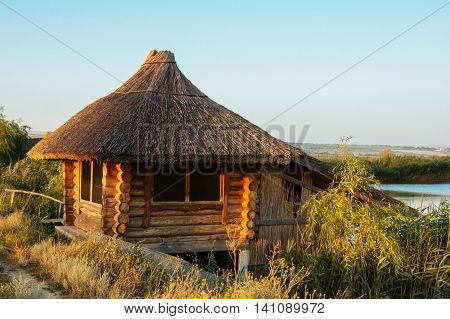 Fishing cottage on a freshwater lake outdoor summer