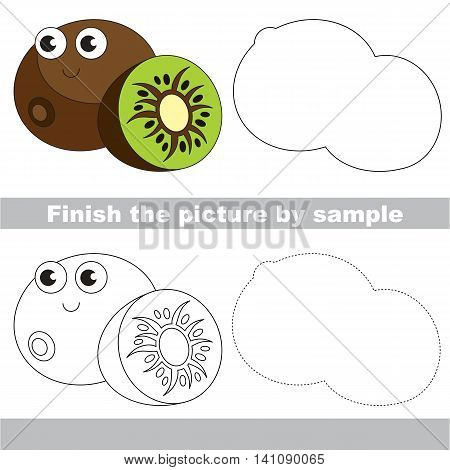 Drawing worksheet for children. Easy educational kid game. Simple level of difficulty. Finish the picture and draw the cute Funny kiwifruit