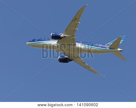 Moscow region - 31 July 2016: a beautiful passenger aircraft Boeing 757-8 AZAL Azerbaijan Airlines flies to Moscow's Domodedovo airport July 31 2016 Moscow Region Russia