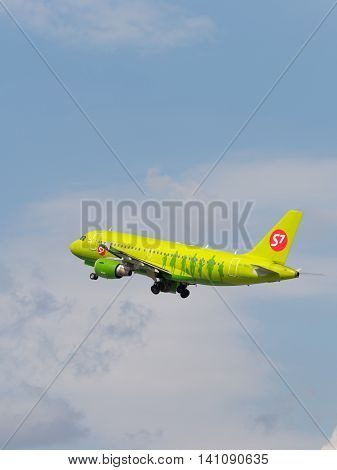 Moscow region - 31 July 2016: passenger plane Airbus A319-114 S7 Airlines flies to Domodedovo airport July 31 2016 Moscow Region Russia
