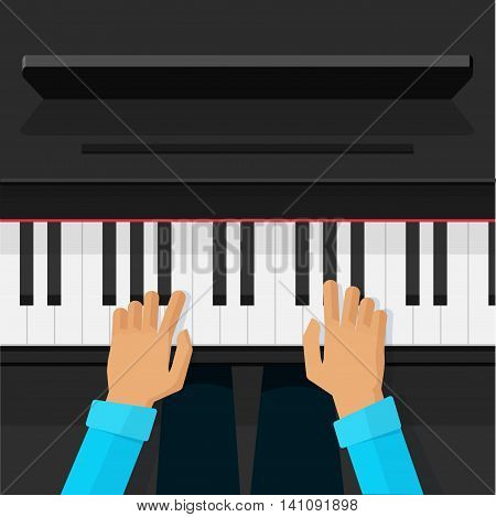 Person playing on grand piano vector illustration top view, flat cartoon pianist artist hands playing the piano keys, musician player, musical school lesson concept