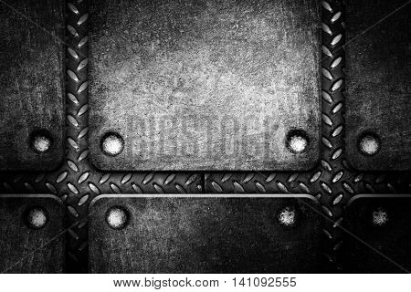 crude iron template on diamond plate background
