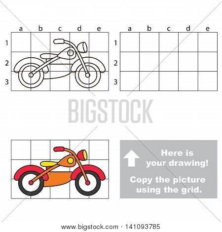 Copy the picture using grid lines. Easy educational game for kids. Simple kid drawing game with Motorbike